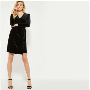 NWT 3/$25 Joe Fresh Black Faux Velour Wrap Dress